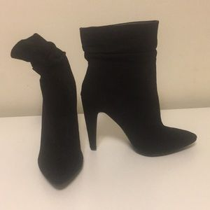 Black Suede Heel Ankle Bootie